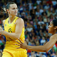 09 August 2012: Australia Jennifer Screen looks to pass the ball over USA Maya Moore during 86-73 Team USA victory over Team Australia, during the women's basketball semi-finals, at the 02 Arena, in London, Great Britain.