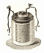 Daniell cell (1836) a wet storage battery invented by the English chemist John Frederic Daniell (1790-1845). Engraving from 'Natural Philosophy' by A Ganot (London, 1887).