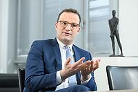 05 MAY 2021, BERLIN/GERMANY:<br /> Jens Spahn, CDU, Bundesgesundheitsminister, wahrend einem Interview, in seinem Buero, Bundesministerium fur Gesundheit<br /> IMAGE: 202105005-01-013