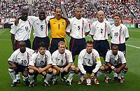Fotball. VM 2002. 02.06.2002.<br />England v Sverige 1-1.<br />Englands lag.<br />Bak fra venstre: Emile Heskey / Sol Campbell / David Seaman / Rio Ferdinand / Danny Mills / Michael Owen.<br />Foran fra venstre: Darius Vassell / Owen Hargreaves / Paul Scholes / David Beckham / Ashley Cole.<br />Foto: Robin Parker, Digitalsport