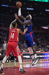 October 21, 2018 - Los Angeles, California, U.S - Montrezl Harrell #5 of the Los Angeles Clippers takes a shot during their NBA game with the Houston Rockets on Sunday October 21, 2018 at the Staples Center in Los Angeles, California. (Credit Image: © Prensa Internacional via ZUMA Wire)