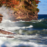 """""""Lake Superior Exclamation""""<br /> <br /> Powerful waves pound the rocky shoreline of Lake Superior in autumn!"""