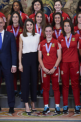 July 5, 2018 - Madrid, Madrid, Spain - Queen Letizia of Spain attends an Audience to the National Women's U-17 Soccer Team, European Champion 2018 at Zarzuela Palace on July 5, 2018 in Madrid, Spain (Credit Image: © Jack Abuin via ZUMA Wire)