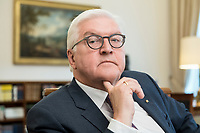 02 JUL 2018, BERLIN/GERMANY:<br /> Frank-Walter Steinmeier, Bundespraesident, waehrend einem Interview, Amtszimmer des Bundespraesidenten, Schloss Bellevue<br /> IMAGE: 20180702-01-012<br /> KEYWORDS: Bundespräsident