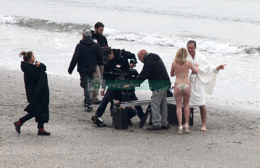 """EXCLUSIVE: Jude Law and French actress Ludovine Seigner filming """"The New Pope"""" on the beach in Venice, directed by Paolo Sorrentino. 08 Apr 2019 Pictured: Jude Law. Ludovine Seigner. Photo credit: AMA / MEGA TheMegaAgency.com +1 888 505 6342"""