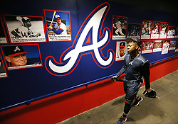 February 15, 2018 - Lake Buena Vista, FL, USA - Braves outfielder Ronald Acuna, rated the consensus No. 1 prospect in baseball this winter by several experts, walks out the clubhouse tunnel to batting practice arriving early for spring training on Thursday, Feb. 15, 2018, at the ESPN Wide World of Sports Complex in Lake Buena Vista, Fla. (Credit Image: © Curtis Compton/TNS via ZUMA Wire)
