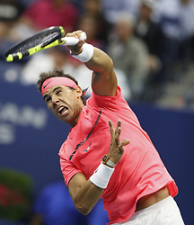 NEW YORK, Sept. 7, 2017  Rafael Nadal of Spain serves to Andrey Rublev of Russia during the men's singles quarterfinal match at the 2017 U.S. Open in New York, the United States, Sept. 6, 2017. Rafael Nadal won 3-0 to enter semifinal. (Credit Image: © Qin Lang/Xinhua via ZUMA Wire)