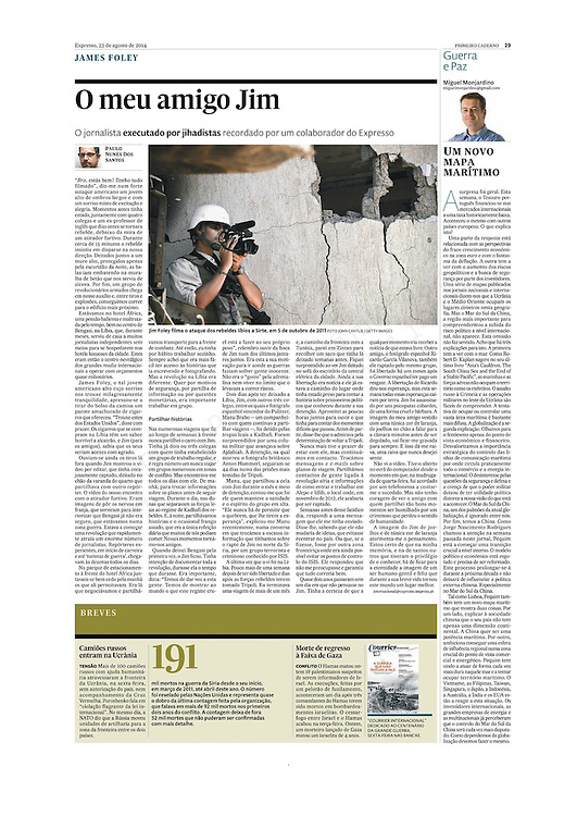 "Tearsheet of ""O meu amigo Jim"" published in Expresso"