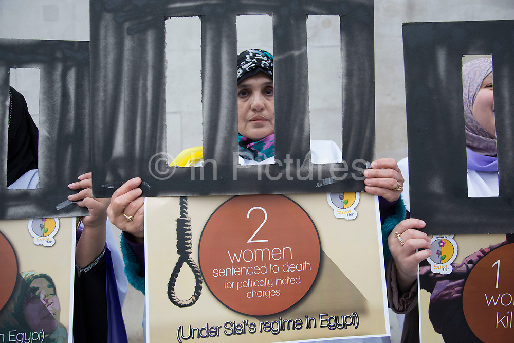 Egyptian women protesting against the affect of the Sisi regime upon women's rights and lives in Egypt. London, UK.