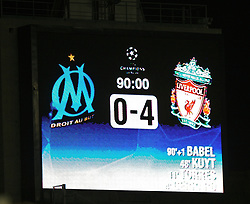 MARSEILLE, FRANCE - Tuesday, December 11, 2007: The scoreboard at the Stade Velodrome records Liverpool's 4-0 victory over Olympique de Marseille during the final UEFA Champions League Group A match. (Photo by David Rawcliffe/Propaganda)
