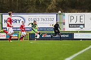 Forest Green Rovers Liam Noble(15) shoots at goal Wrexham goalkeeper Shwan Jalal(1) makes a save during the Vanarama National League match between Forest Green Rovers and Wrexham FC at the New Lawn, Forest Green, United Kingdom on 18 March 2017. Photo by Shane Healey.
