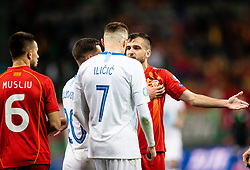 Josip Iličić of Slovenia talks to Boban Nikolov of Macedonia during football match between National teams of Slovenia and North Macedonia in Group G of UEFA Euro 2020 qualifications, on March 24, 2019 in SRC Stozice, Ljubljana, Slovenia. Photo by Vid Ponikvar / Sportida