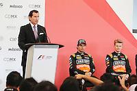 (L to R): Federico Alaman (MEX) Director General de Automovilismo Deportivo de CIE; Sergio Perez (MEX) Sahara Force India F1 and team mate Nico Hulkenberg (GER) Sahara Force India F1 at a press conference.<br /> Autodromo Hermanos Rodriguez Circuit Visit, Mexico City, Mexico. Thursday 22nd January 2015.