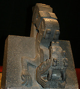 Stone figure of Xiuhcoatl, AD 1325-1521 From Mexico. The Fire Serpent Xiuhcoatl, played an important role in Mexica religion. with the head of a serpent, short legs finishing in claws and a curved snout.