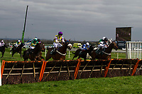 Grand National Meeting - Ladies' Day<br /> e.g. of caption:<br /> National Hunt Horse Racing - 2017 Randox Grand National Festival - Friday, Day Two [Ladies' Day]<br /> <br /> Jeremiah McGrath on winner  Rather Be jumps the last fence  in the 13.40 Alder Hey Children's Charity Handicap Hurdle (Grade 3) (Class 1)<br /> 2m 4f, Good at Aintree Racecourse.<br /> <br /> COLORSPORT/WINSTON BYNORTH