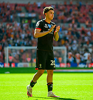 Lincoln City's Brennan Johnson applauds the fans at the final whistle<br /> <br /> Photographer Andrew Vaughan/CameraSport<br /> <br /> The EFL Sky Bet League One Play-Off Final - Blackpool v Lincoln City - Sunday 30th May 2021 - Wembley Stadium - London<br /> <br /> World Copyright © 2021 CameraSport. All rights reserved. 43 Linden Ave. Countesthorpe. Leicester. England. LE8 5PG - Tel: +44 (0) 116 277 4147 - admin@camerasport.com - www.camerasport.com