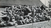 Buchenwald, Nazi concentration camp, established in 1937 and liberated in April 1945. Prisoners were used as forced labour in nearby munitions factories.  A wagon load of the corpses of prisoners.
