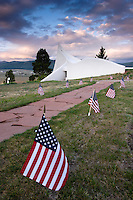 Chapel and US Flags at Vietnam Veterans Memorial State Park, Angel Fire, New Mexico