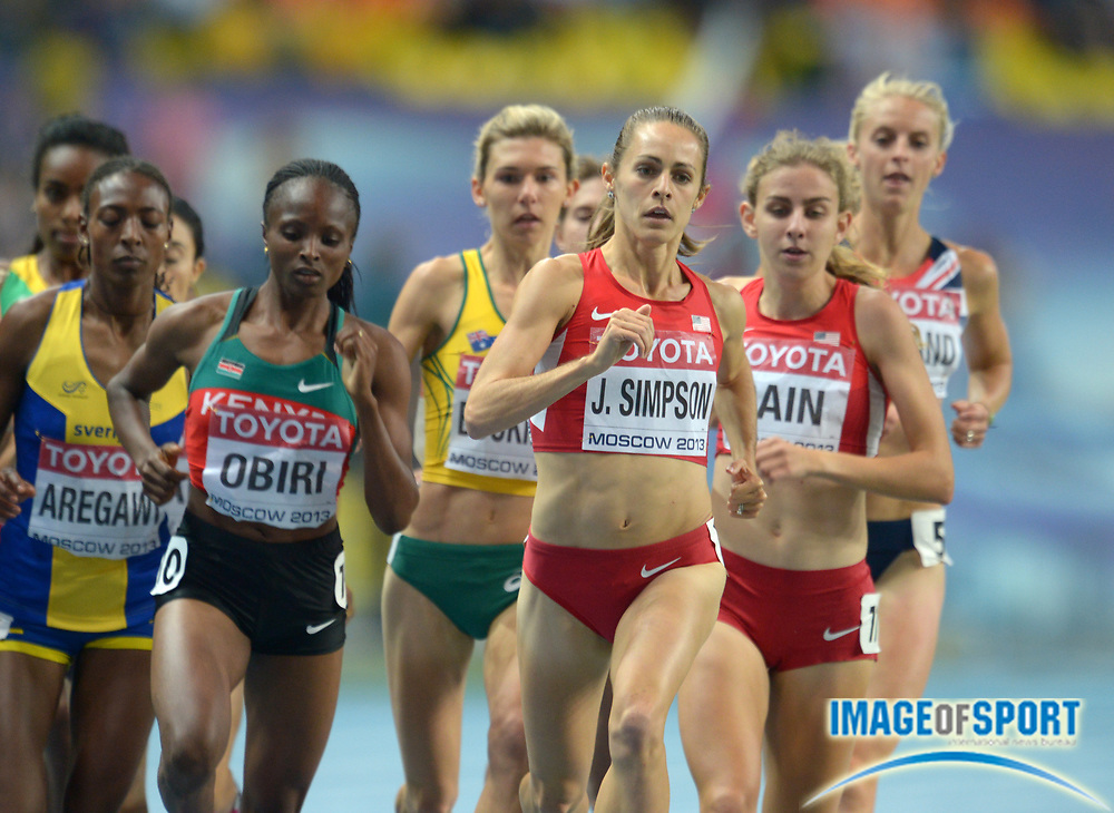 Aug 15, 2013; Moscow, RUSSIA; Jenny Simpson (USA) leads Abea Aregawi (SWE), Hellen Obiri (KEN), Zoe Buckman (AUS) and Mary Cain (USA) in the womens 1,500m in the 14th IAAF World Championships in Athletics at Luzhniki Stadium. Simpson placed second in 4:02.99.