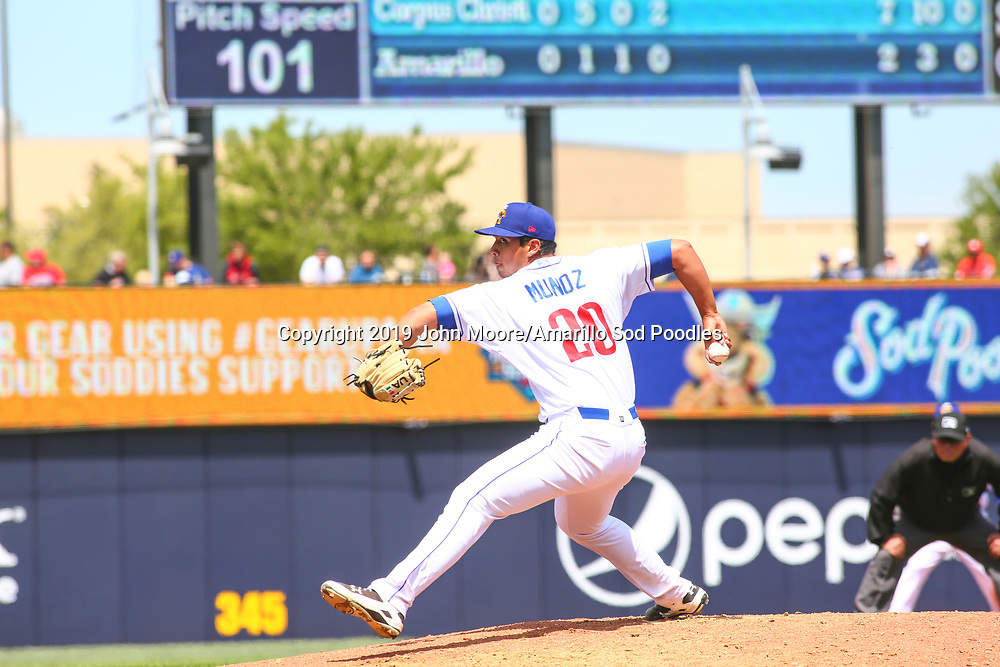 Amarillo Sod Poodles pitcher Andres Munoz (20) pitches against the Corpus Christi Hooks on Sunday, April 14, 2019, at HODGETOWN in Amarillo, Texas. [Photo by John Moore/Amarillo Sod Poodles]