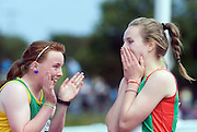 Grace Lawler from Carlow is congratulated by Clara Heinrick from Kerry after winning the Girls U 14 100m  at the HSE Community Games National Finals 2010 in the AIT in Athlone. Photo:Andrew Downes