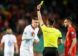 Yellow cards for Josip Iličić of Slovenia and Boban Nikolov of Macedonia during football match between National teams of Slovenia and North Macedonia in Group G of UEFA Euro 2020 qualifications, on March 24, 2019 in SRC Stozice, Ljubljana, Slovenia. Photo by Vid Ponikvar / Sportida
