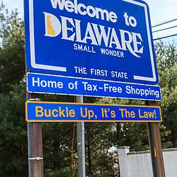 Marshallton, DE - April 4, 2013: The Welcome to Delaware State sign at the Pennsylvania and Delaware border.