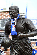 Statue of Everton legend Dixie Dean outside Goodison Park Stadium. Barclays Premier League match, Everton v Liverpool at Goodison Park in Liverpool on Sunday 4th October 2015.<br /> pic by Chris Stading, Andrew Orchard sports photography.