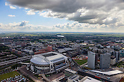 Nederland, Noord-Holland, Amsterdam, 14-06-2012; Amsterdam Zuidoost, Arenagebied met Ziggo Dome, Woonmall, Arena. In de achtergrond Zuidoost en de Bijlmer..Football stadion Arena of Ajax in Amsterdam-South-east, shopping mall and concert hall Ziggo Dome in this area, residential area Bijlmer in the back..luchtfoto (toeslag), aerial photo (additional fee required).foto/photo Siebe Swart