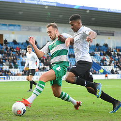 TELFORD COPYRIGHT MIKE SHERIDAN Riccardo Calder of Telford battles for the ball with Jordan Richards during the Vanarama Conference North fixture between AFC Telford and Farsley at the New Bucks head Stadium on Saturday, December 7, 2019.<br /> <br /> Picture credit: Mike Sheridan/Ultrapress<br /> <br /> MS201920-033