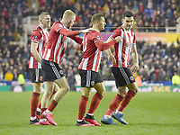 Football - 2019 / 2020 Emirates FA Cup - Fifth Round: Reading vs. Sheffield United<br /> <br /> Sheffield United's Billy Sharp (first right) congratulated after scoring his sides winning goal, at the Madejski Stadium.<br /> <br /> COLORSPORT/ASHLEY WESTERN
