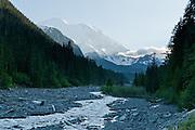 White River flows from Emmons Glacier on Mount Rainier (summit 14,411 feet). Mount Rainier National Park, Washington, USA