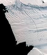 NASA scientists discovered a massive crack across the Pine Island Glacier, Antarctica. Nov. 13, 2011.