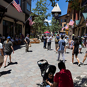 The Village at Mammoth in Mammoth Lakes, CA draws locals and visitors to its shops and restaurants at the base of Mammoth Mountain.