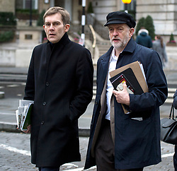 © Licensed to London News Pictures. FILE PICTURE:  17/01/2016. London, UK. Labour party leader JEREMY CORBYN arriving at BBC Broadcasting House with his adviser SEUMAS MILNE (left) to appear on The Andrew Marr Show on BBC One. A BBC Panorama documentary, focusing on alleged anti semitism in the Labour Party is due to run this evening. Photo credit: Ben Cawthra/LNP