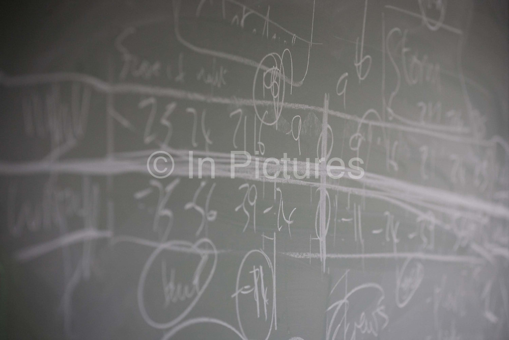 Blackboard workings belonging to mathematician and Risk guru, Professor David Spiegelhalter at the Centre for Mathematical Sciences at the University of Cambridge. Sir David John Spiegelhalter (1953), OBE FRS, is a British statistician. In 2007 he was elected Winton Professor of the Public Understanding of Risk in the Statistical Laboratory, University of Cambridge and a Fellow of Churchill College, Cambridge. From the chapter entitled 'Possible Futures' and from the book 'Risk Wise: Nine Everyday Adventures' by Polly Morland (Allianz, The School of Life, Profile Books, 2015).