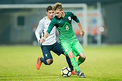 Matic Vrbanec of Slovenia during football match between National teams of Slovenia and France in UEFA European Under-21 Championship Qualification, on November 13, 2017 in Domzale, Slovenia. Photo by Vid Ponikvar / Sportida