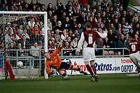 Photo: Marc Atkins.<br /> <br /> Northampton Town v Stockport County. Coca Cola League 2. 17/04/2006. Scott McGleish scores his second goal.