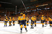 NASHVILLE, TN - MAY 07:  P.K.Subban #76 of the Nashville Predators raises his stick to thanks the fans after a 3-1 Predator victory over the St. Louis Blues in Game Six of the Western Conference Second Round during the 2017 NHL Stanley Cup Playoffs  at Bridgestone Arena on May 7, 2017 in Nashville, Tennessee.  (Photo by Frederick Breedon/Getty Images)