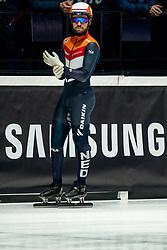 Sjinkie Knegt of Netherlands in action on 1500 meter during ISU World Short Track speed skating Championships on March 05, 2021 in Dordrecht
