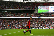 Adam Smith of AFC Bournemouth back heels the ball towards the corner flag at Wembley stadium.<br /> Premier league match, Tottenham Hotspur v AFC Bournemouth at Wembley Stadium in London on Saturday 14th October 2017.<br /> pic by Kieran Clarke, Andrew Orchard sports photography.