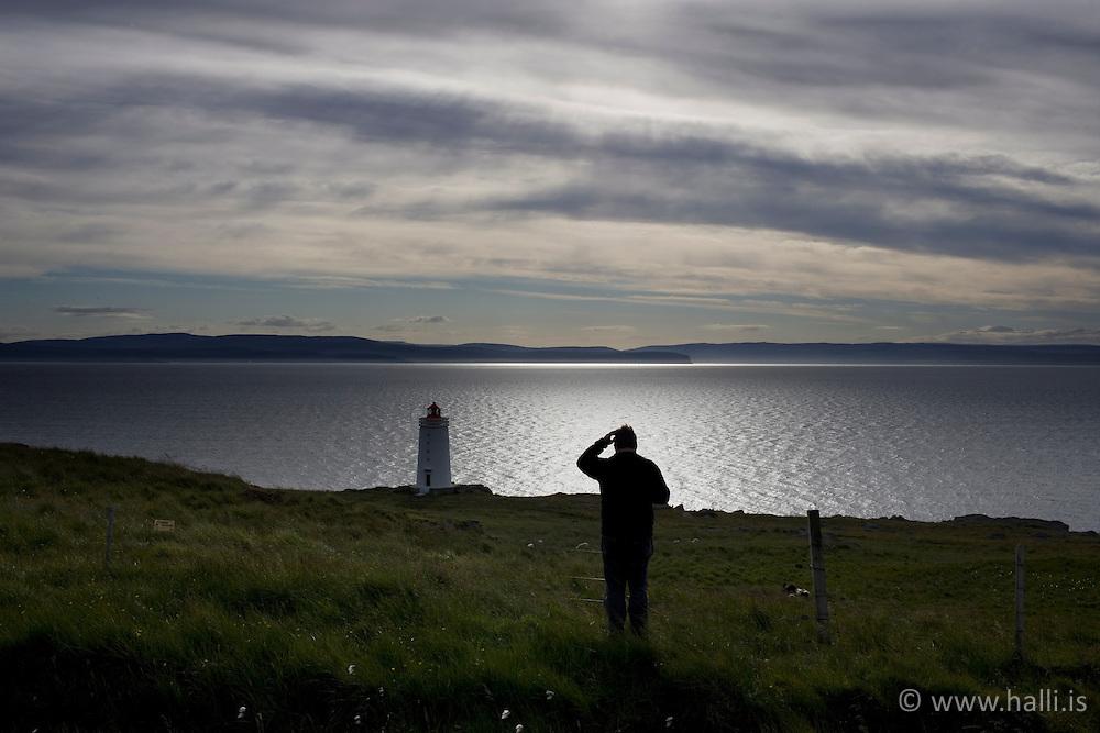 Lighthouse at Sydraskard at Vatnsnes in Midfjodur, Iceland - Viti við Syðraskarð á Vatnsnesi í Miðfirði