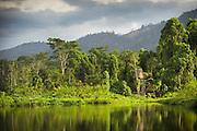 Lake in Manu learning centre, Manu National Park, Peru, South America