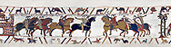 Bayeux Tapestry  Scene 13 - Harold is handed over by Guy count of Ponthieu to Duke Williams. BYX13 .