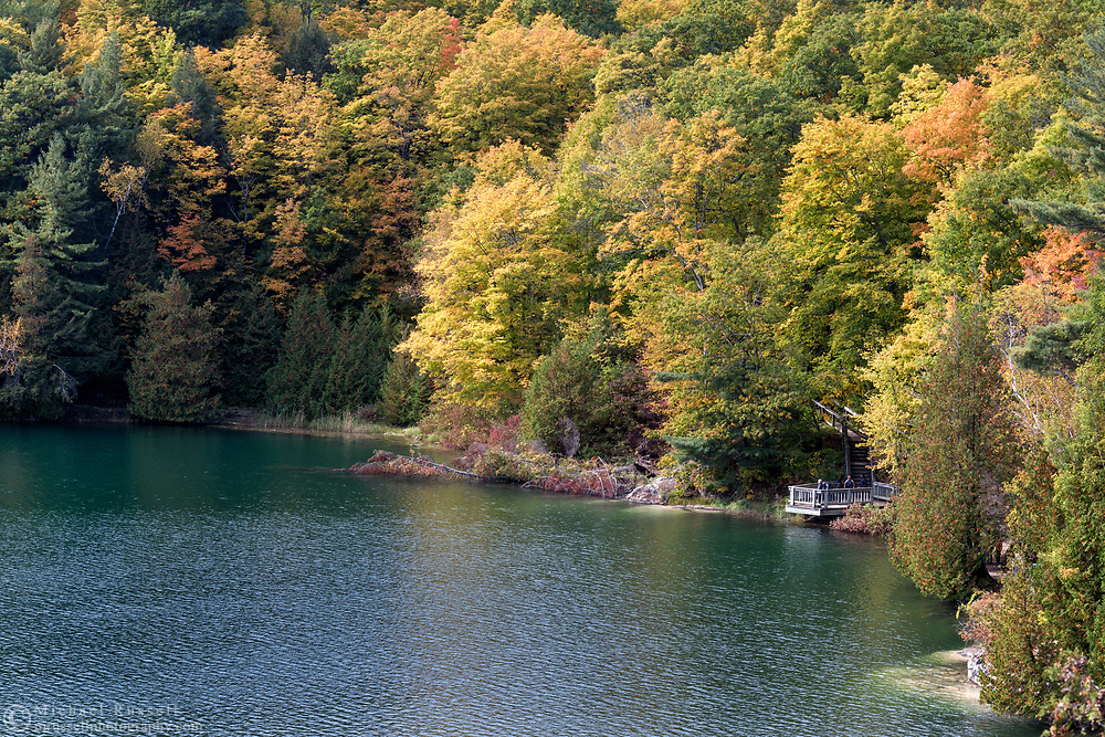 """One of the viewing platforms along the Pink Lake Trail loop at Pink Lake (Lac Pink) in Gatineau Park, Québec, Canada.  Photographed during the """"Fall Rhapsody"""" festival celbrating fall foliage colours in Gatineau Park."""