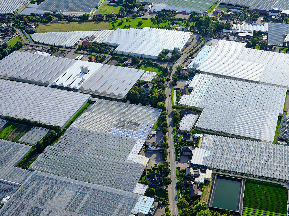 Nederland, Zuid-Holland, Gemeente Westland, 14-09-2019; Glazen stad, Kassengebied Westland, omgeving 's-Gravenzande.<br /> Greenhouses area in the West of the Netherlands, the heart of the production of vegetables and fruit for export. Between The Hague and Rotterdam.<br /> <br /> luchtfoto (toeslag op standard tarieven);<br /> aerial photo (additional fee required);<br /> copyright foto/photo Siebe Swart