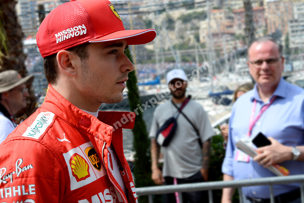Charles Leclerc (Ferrari) after qualifying for the 2019 Monaco Grand Prix. Photo: Grand Prix Photo