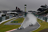 ROSBERG Nico (Ger) Mercedes Gp Mgp W05 action HAMILTON Lewis (Gbr) Mercedes Gp Mgp W05 action depart start  during the 2014 Formula One World Championship, Japan Grand Prix from October 3rd to 5th 2014 in Suzuka. Photo Frederic Le Floc'h / DPPI