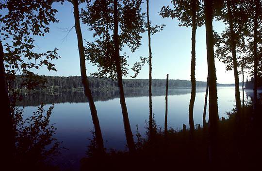 Isle Royale National Park, Early morning sunrise over Hatchet Lake. Early fall. Michigan.