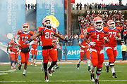 Sam Houston State Bearkats wide receiver Terrance Robinson (80) runs onto the field during the pre-game ceremonies during the FCS title game against North Dakota State at FC Dallas Stadium in Frisco, Texas, on January 5, 2013.  (Stan Olszewski/The Dallas Morning News)